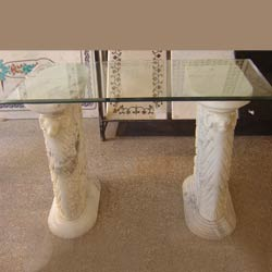 Marvelous Indian White Marble Table Base